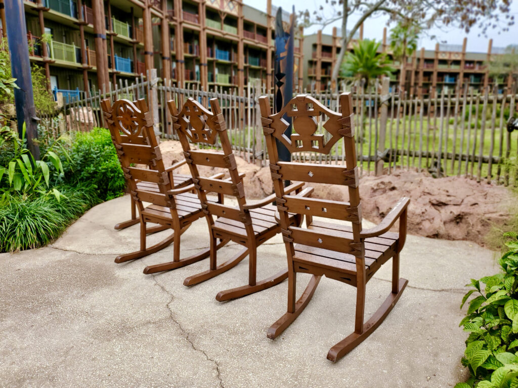 Set of chairs in a courtyard