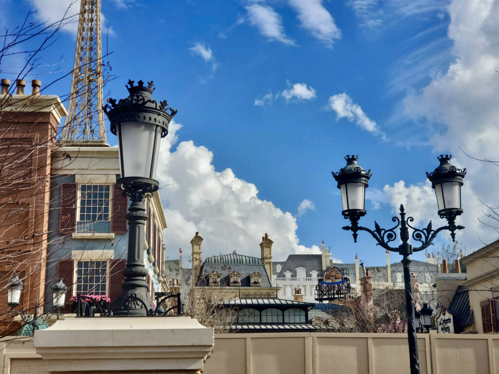 French buildings with gas lite lamps