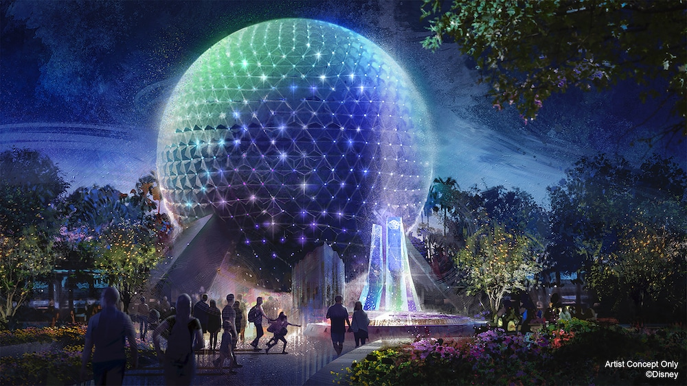 Spaceship Earth Ball sparkling at night