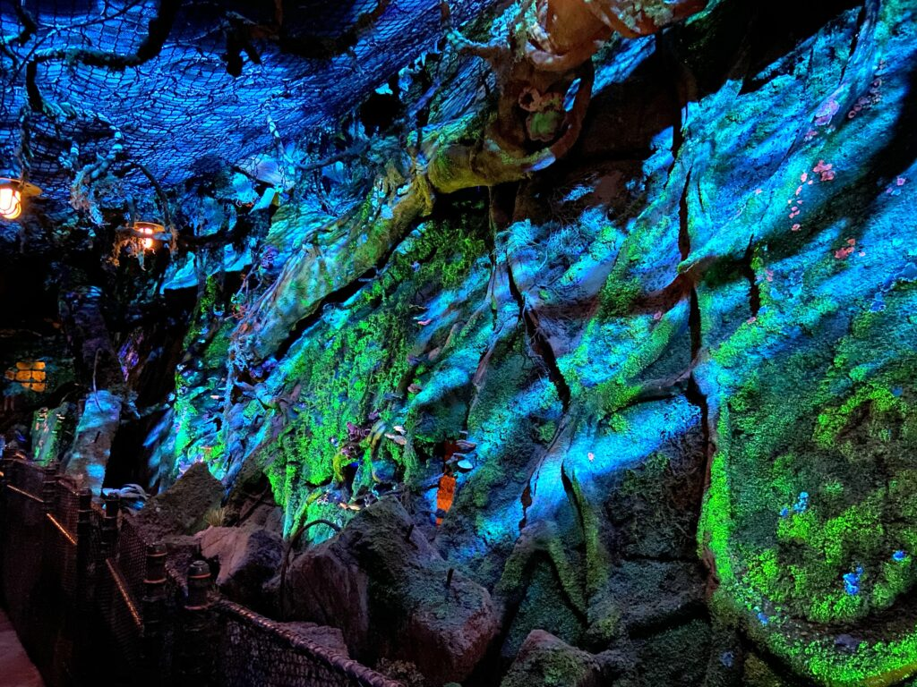 Fluorescent rock inside a cave