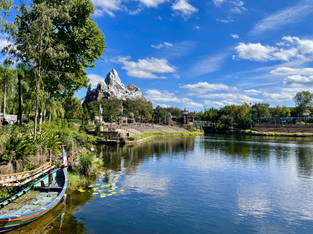 Everest attraction with a lake and trees