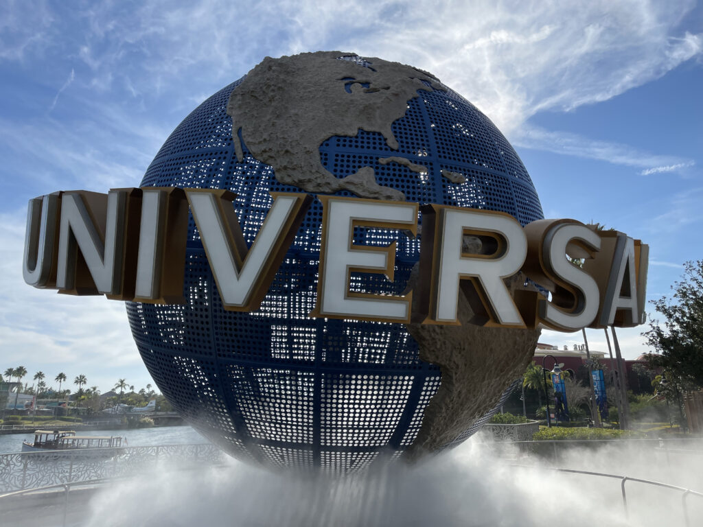 Universal Studios Globe with smoke