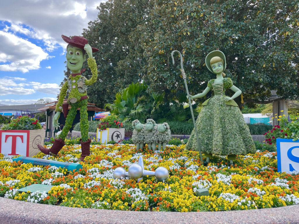 Toy Story topiaries with flowers
