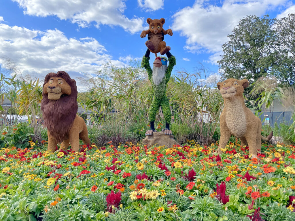 Lion King characters as topiaries