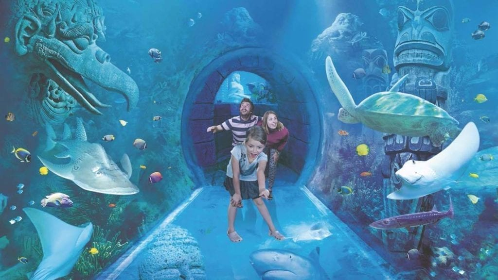 Family inside a water tunnel