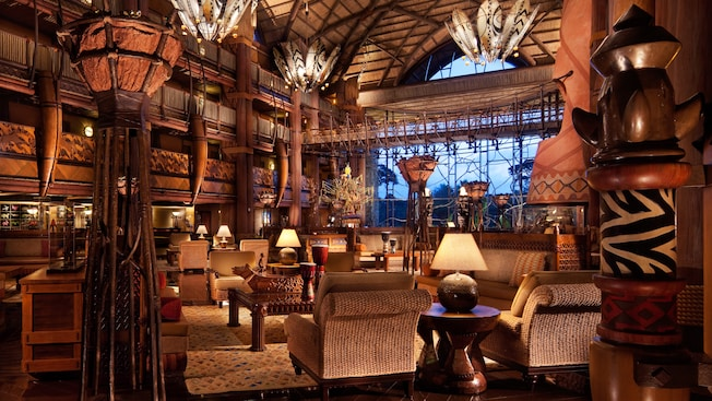 Great lobby made of carved wood