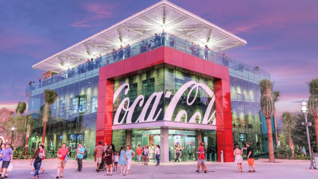 Coca Cola store with logo and glass