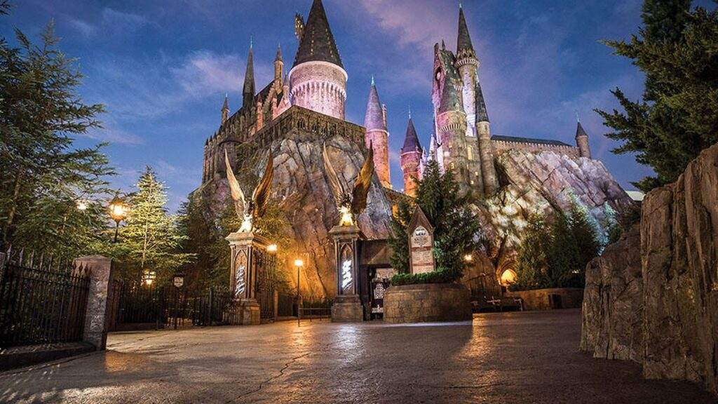 Hogwarts Castle and grounds at night