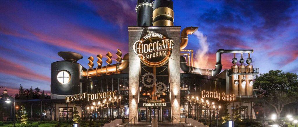 Chocolate Factory exterior at night