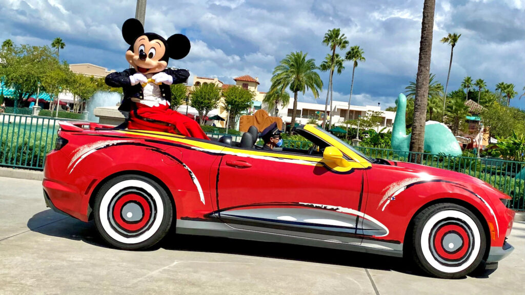 Mickey Mouse in a red sports car