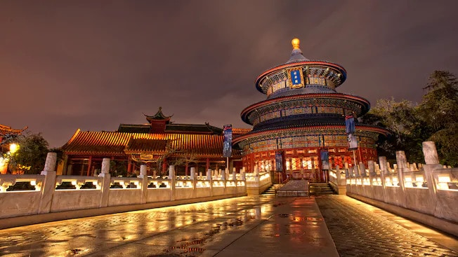 China building with light at night