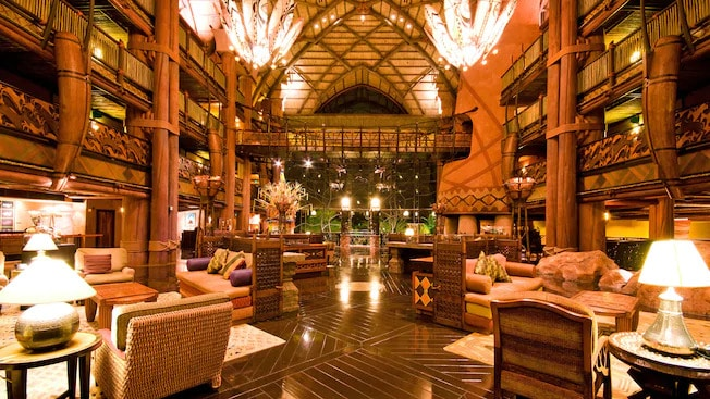 Lobby of hotel from wood