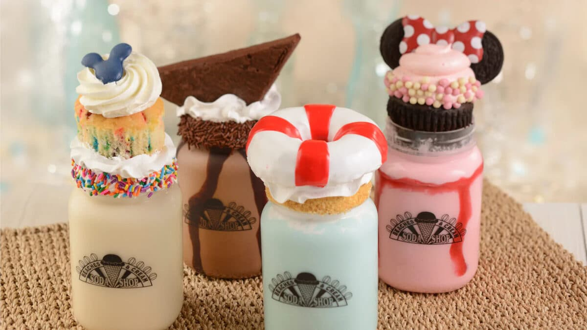 Ice Cream shakes topped with cookies in a jar