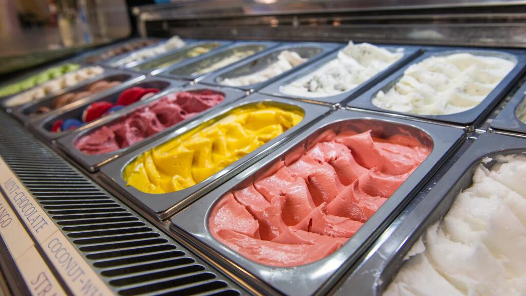 Gelato Ice Cream in a case