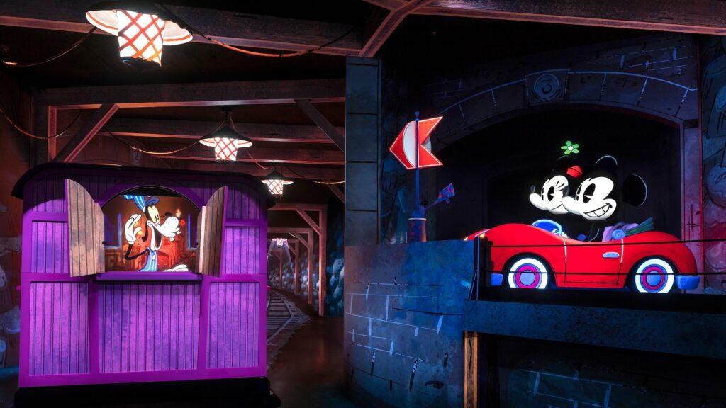 Disney characters inside a train