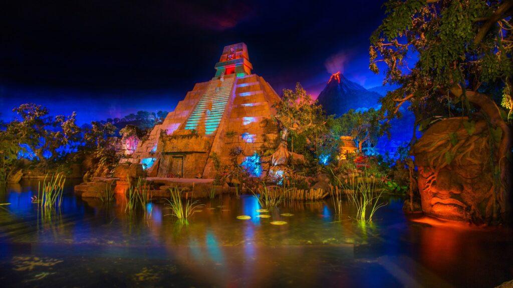 Pyramid with foliage at night