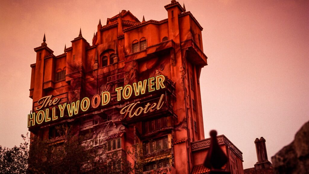 Hollywood Tower Hotel at dusk