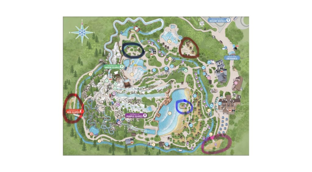 Map showing the best spots at Blizzard Beach