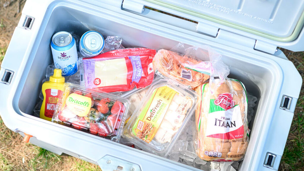 A cooler full of food items