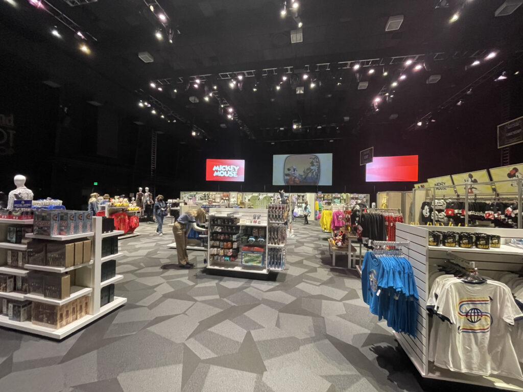 Merchandise store with clothes and toys
