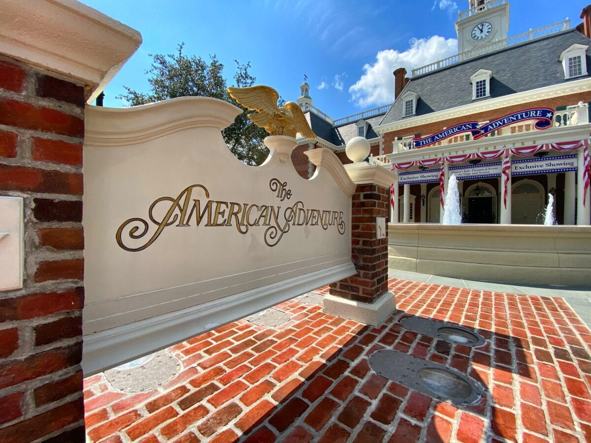 The American Adventure sign and liberty building