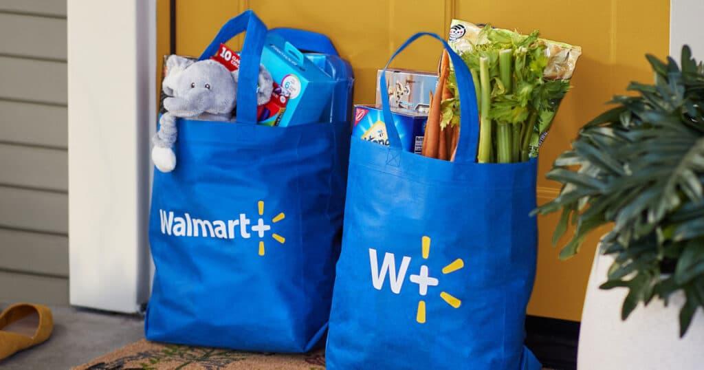 Groceries in Walmart bags