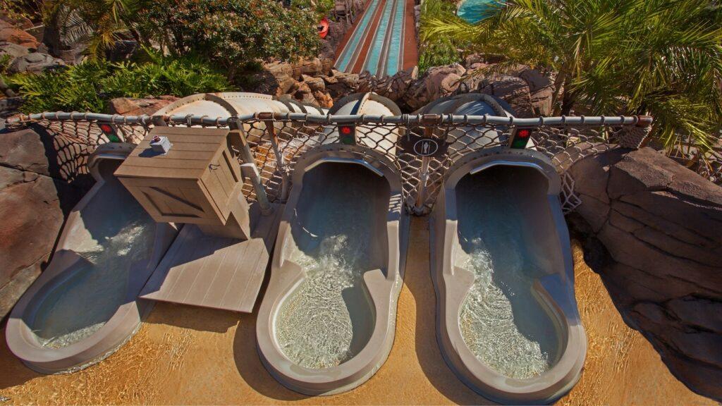 Three water slides looking down