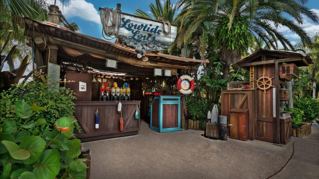 Food shack with tropical trees