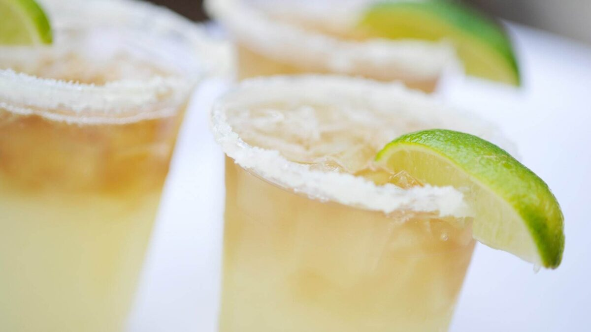 Margaritas with sugar and lime