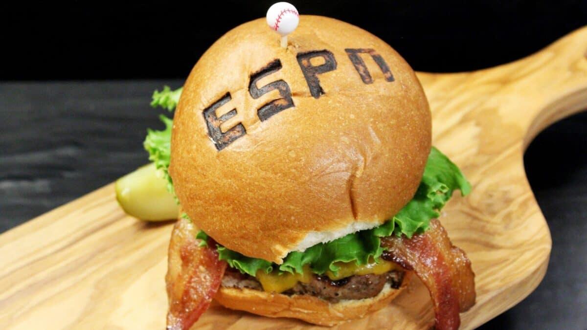 ESPN cheeseburger on a board