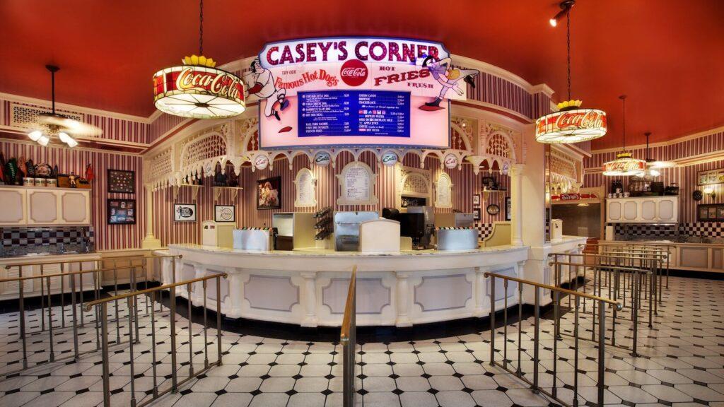 Inside baseball restaurant with dining menu