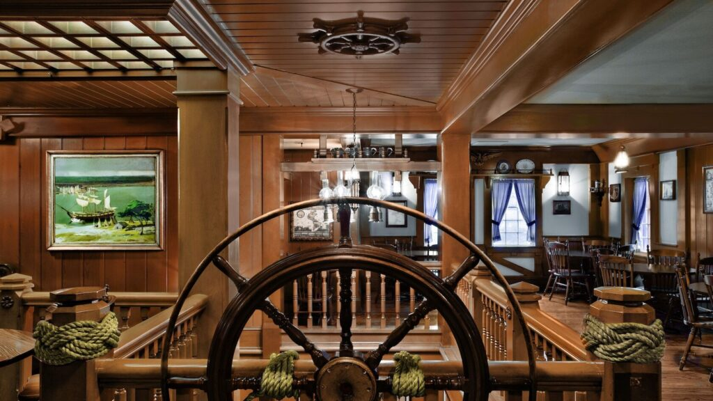 Dining house with ship wheel