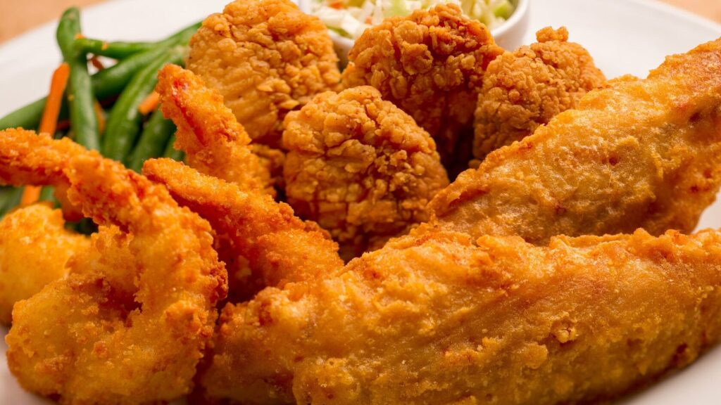 Fried shrimp and chicken