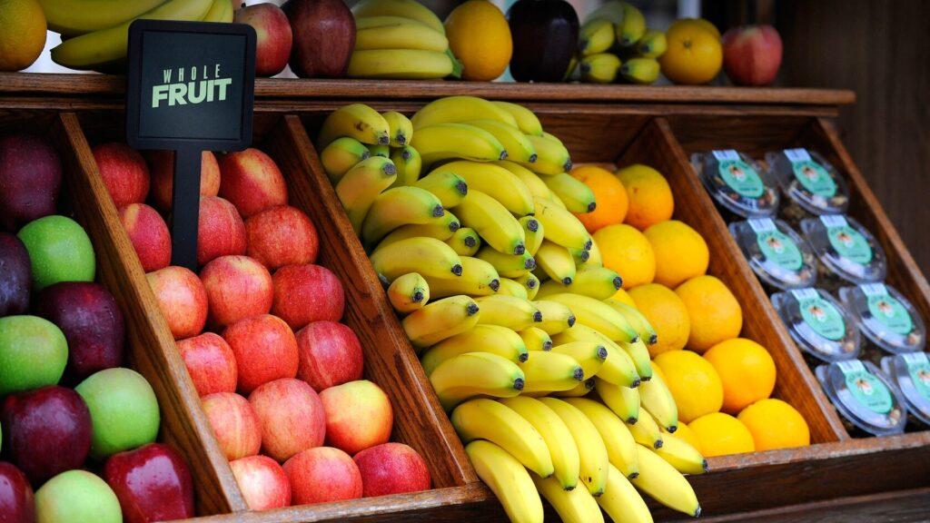 Various fruits at a food stand
