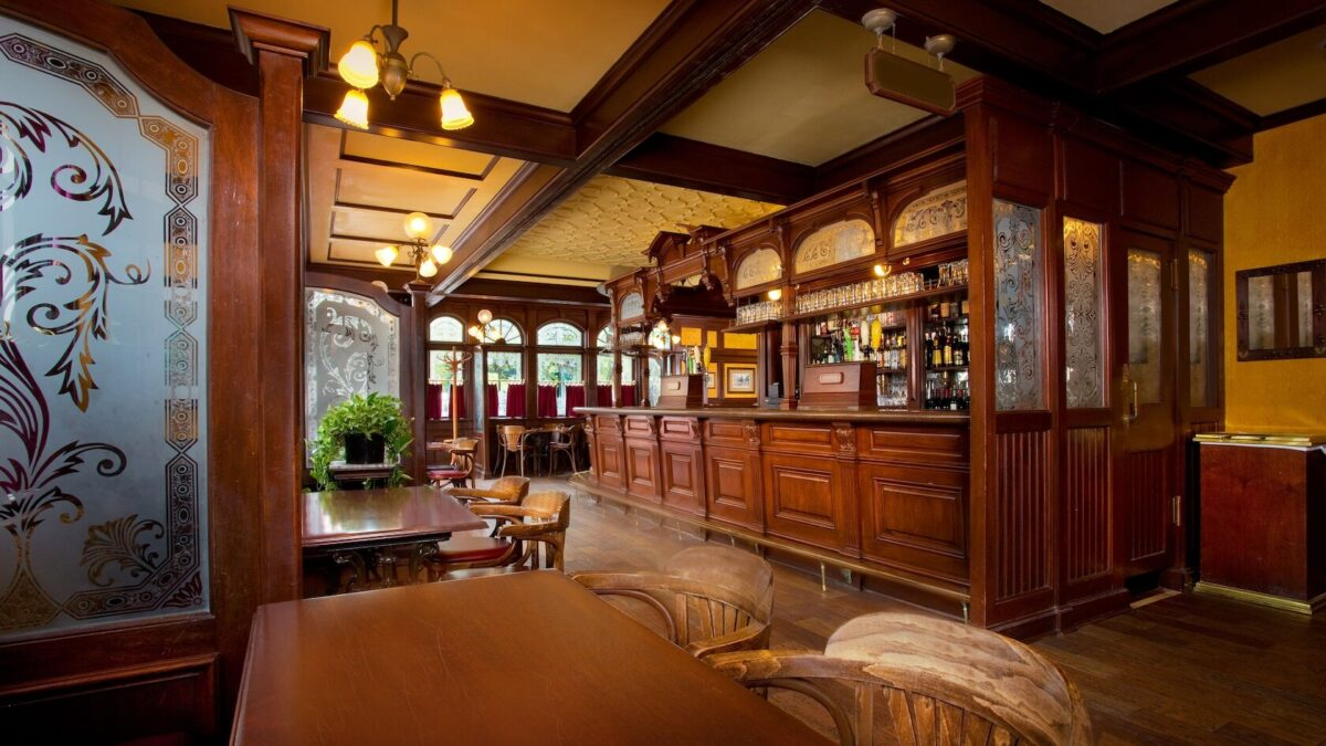 Inside english pub and bar