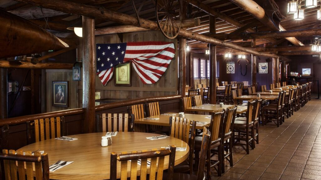 Campground style restaurant with flag