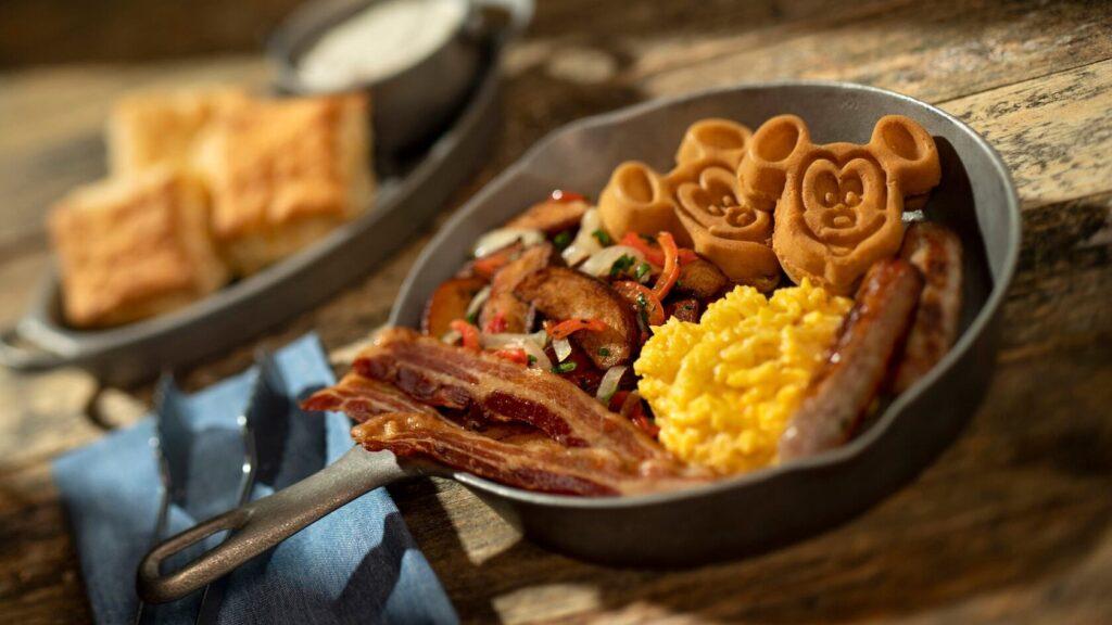 Mickey waffles, bacon and eggs