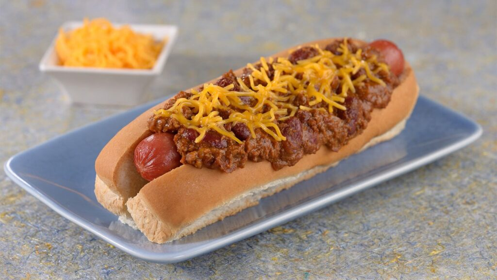 Chili cheese dog on a plate