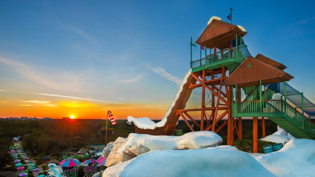 Icy water slide at sunset
