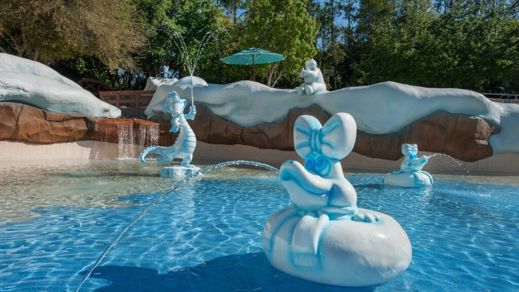 Splash pad with characters