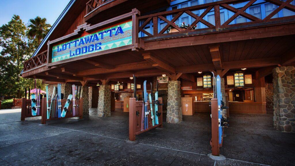Ski lodge with windows