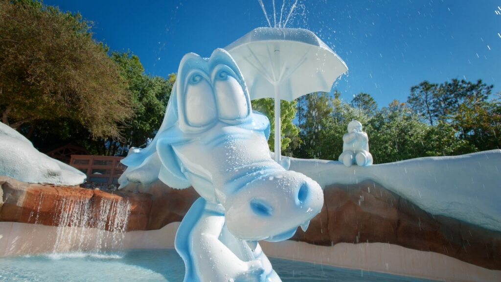 Icy Alligator with a small umbrella