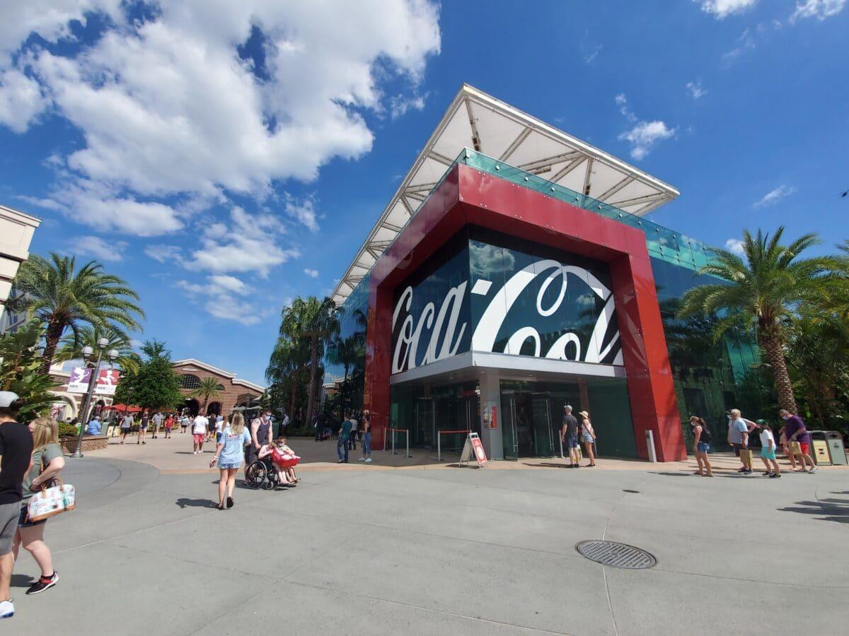 Exterior of Coca-Cola store of glass