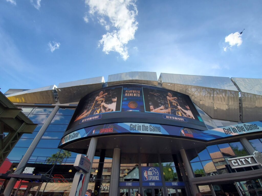 Exterior of NBA store with signage