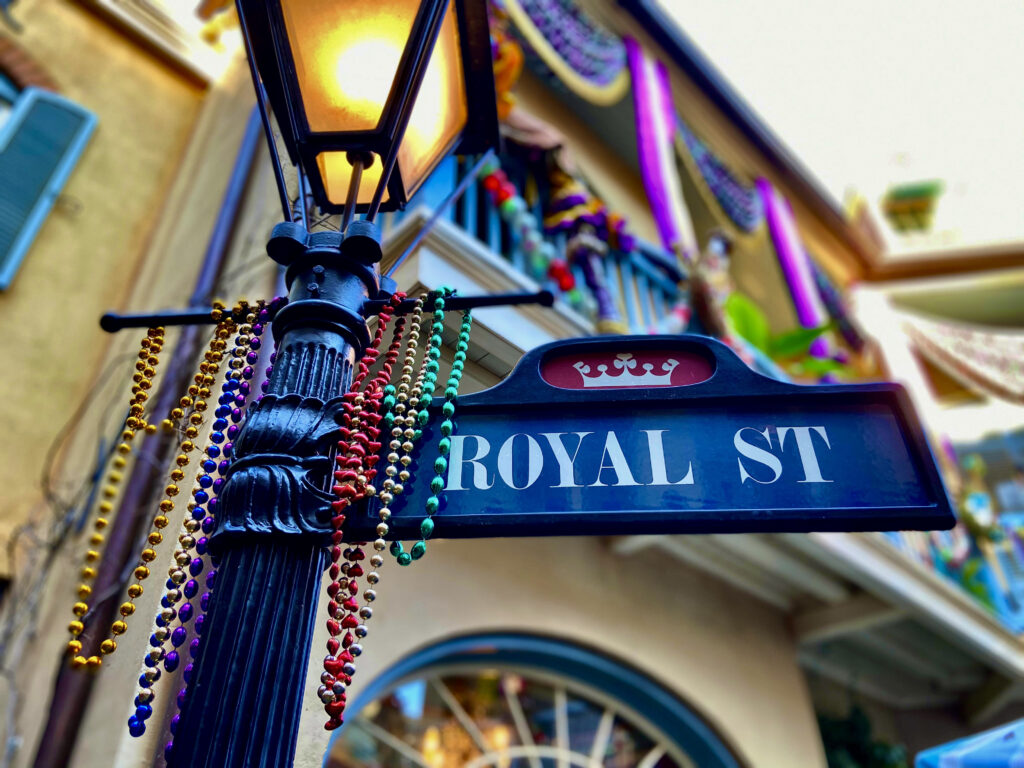 Royal street sign with beads