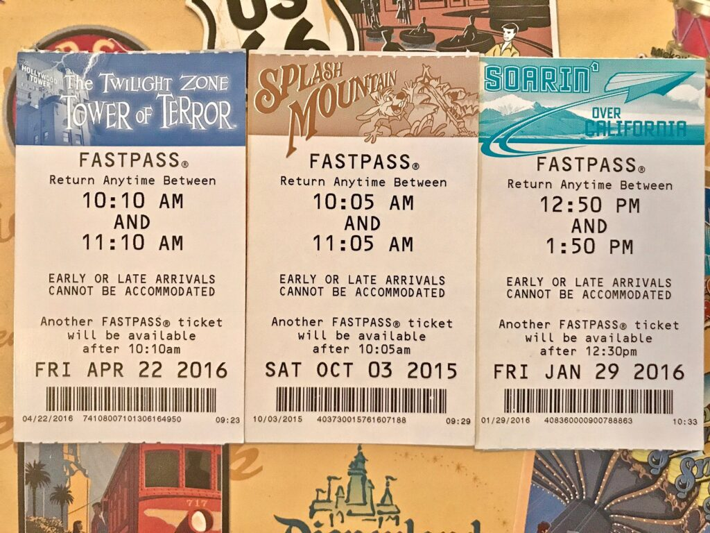 FASTPASS tickets for attractions