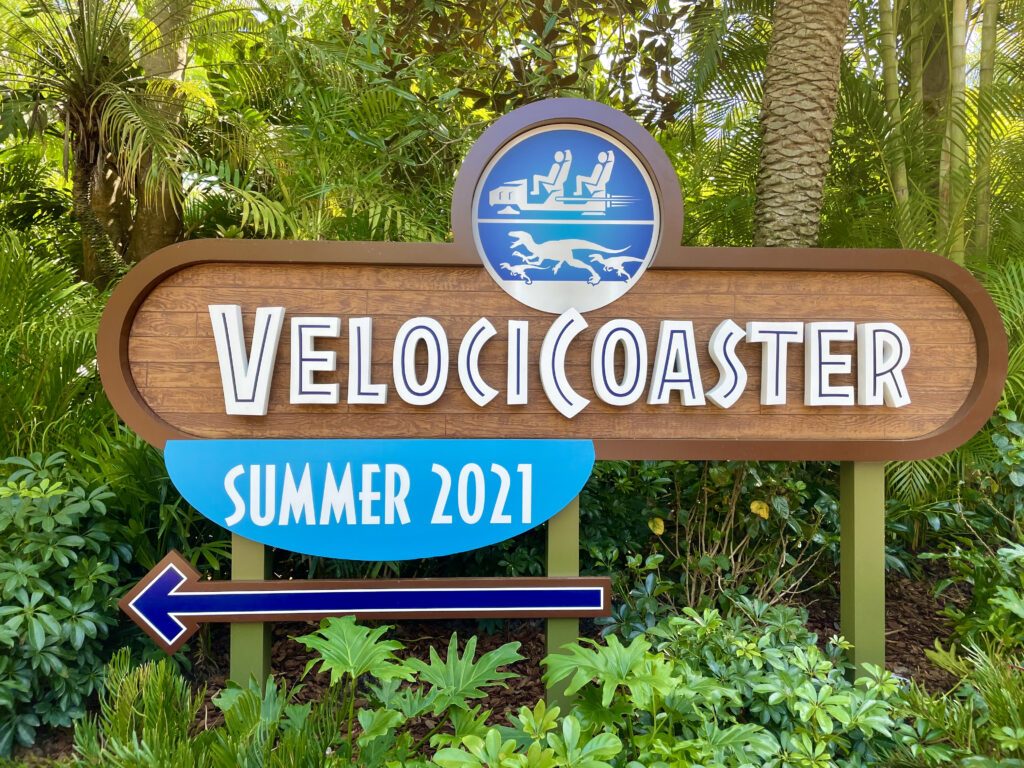 VelociCoaster Sign in trees