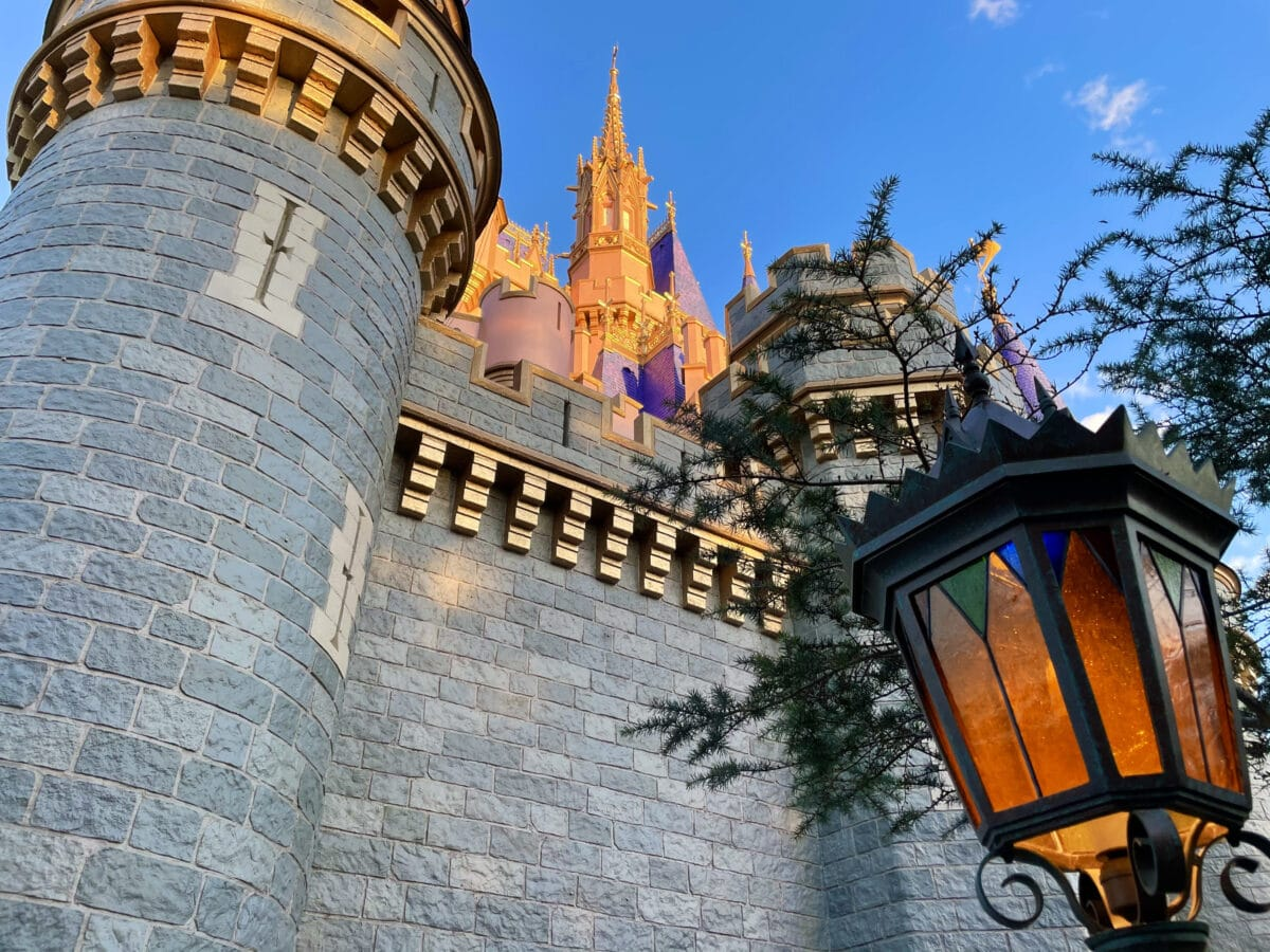 Side of castle with lamp post