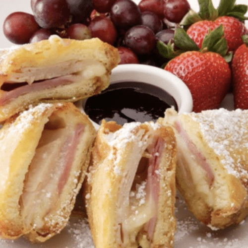Monte Cristo sandwich with fruit