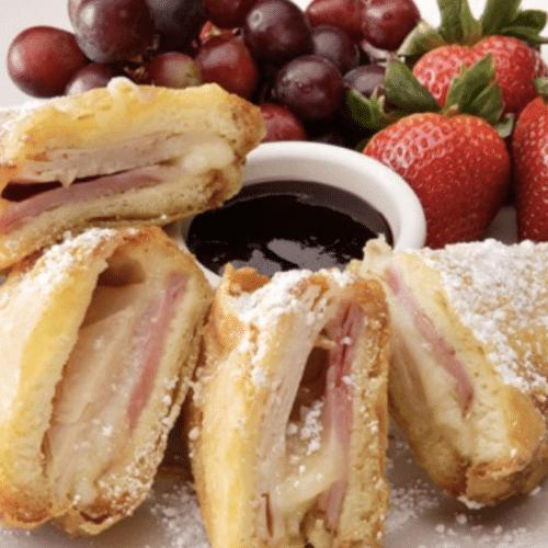 Monte Cristo sandwich with fruit